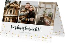 Verhuisbericht fotocollage kaart met 3 foto's en confetti