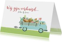 Verhuiskaart busje volkswagen samenwonen