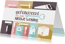 Verhuiskaart felicitatie pastel gereedschap