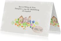 Verhuiskaart houten huisjes en bloemen