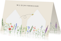 Verhuiskaart huisjes veldbloemen