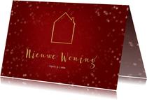Verhuiskaart kerst liggend rood met huisje