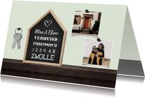 Verhuiskaart krijtbord huis 2 foto's met sleutelbos