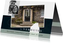 Verhuiskaart modern, met grote foto en wit huisje