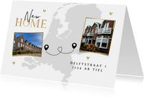 Verhuiskaart new home nieuwe woning goud foto landkaart