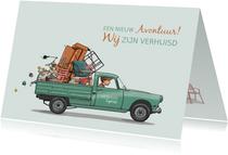 Verhuiskaart Peugeot 404 pick-up groen