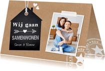 Verhuiskaart samenwonen foto kraft label