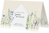 Verhuiskaart samenwonen veldbloemen
