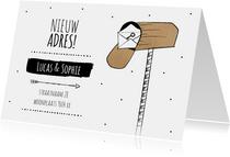 Verhuiskaart voor adreswijziging met brievenbus