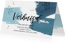 Verhuiskaart watercolor blauw strepen