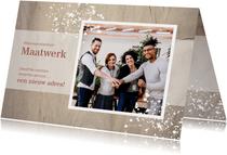 Verhuiskaart Zakelijk houtlook met foto