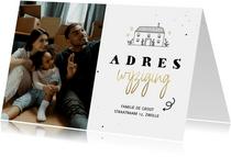Verhuiskaartje met foto adreswijziging lijntekening huisje