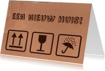 Felicitatiekaarten - Verhuissymbolen felicitatie woning bruin