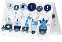 Verjaardag Animal Train Blauw