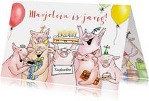 Verjaardag - feestvarkens met taart en kadootjes