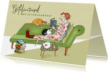 Verjaardag - lezende vrouw met katten