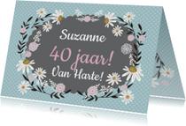 Verjaardagskaarten - Verjaardag retro bloemen