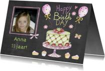 verjaardag taart schoolbord