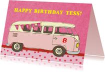 Verjaardag Vintage Busje Roze