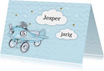 Verjaardagskaarten - Verjaardag vliegtuig wolkje