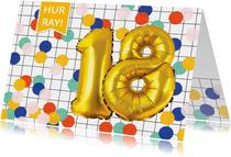 Verjaardagskaart 18 jaar met confetti en ballonnen goud