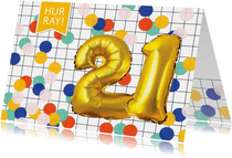 Verjaardagskaarten - Verjaardagskaart 21 jaar ballonnen goud