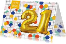 Verjaardagskaart 21 jaar ballonnen goud