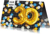 Verjaardagskaart 30 jaar man confetti ballonnen goud