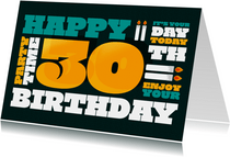 Verjaardagskaart 30 jaar man typografisch modern stoer
