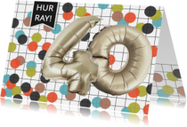 Verjaardagskaarten - Verjaardagskaart 40 confetti