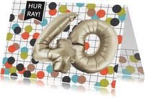 Verjaardagskaart 40 confetti