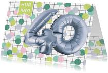 Verjaardagskaart 40 jaar confetti ballonnen