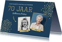 Verjaardagskaart 70 jaar stijlvol goud toen en nu