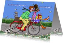 Verjaardagskaart Al fietsend