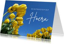 Verjaardagskaart bloemen Gele tulpen