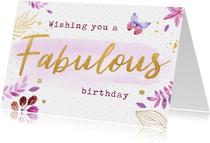 Verjaardagskaart botanisch vlinder
