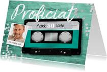 Verjaardagskaart casette tape muziek 50 jaar retro