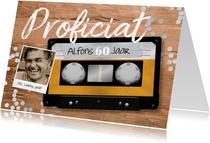 Verjaardagskaart casette tape muziek 60 jaar retro
