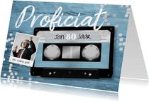 Verjaardagskaart casette tape muziek 80 jaar retro