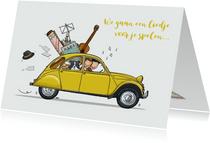 Verjaardagskaart Citroën eend met muzikanten