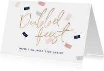 Verjaardagskaart confetti dubbel feest tweeling samen jarig