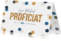 Verjaardagskaart confetti feest goud stijlvol