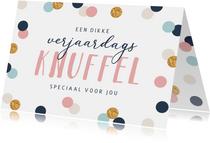 Verjaardagskaart confetti goud feest dikke knuffel