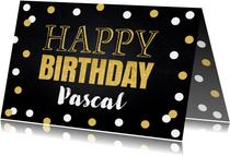 Verjaardagskaart confetti goud krijtbord