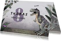 Verjaardagskaart dino jungle t-rex