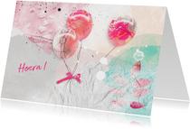 Verjaardagskaart drie ballonnen roze