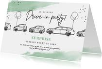 Verjaardagskaart drive in corona feestje stoet