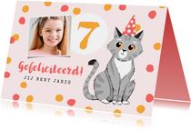Verjaardagskaart feest meisje confetti kat