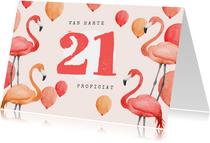 Verjaardagskaart flamingo ballonnen waterverf 21