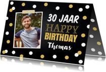 Verjaardagskaart foto gouden confetti